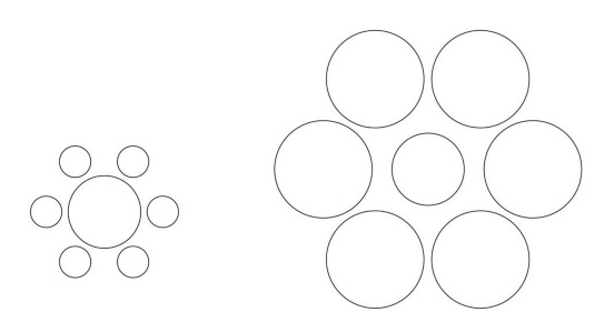 エビングハウス錯視の例